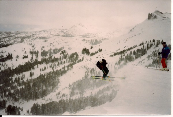 spinnin' a 3 off the cornice at Kirkwood on 212cm skis.  how many youn...
