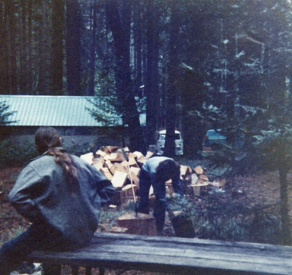 Jeff Mathis supervising Malcolm McGregor chopping wood in Camp 6 about...