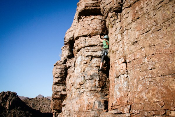 Annie heading up a super fun crack climb at the Refuge.