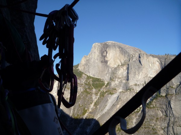 nice view of half dome form the bivi at the top of pitch 10.