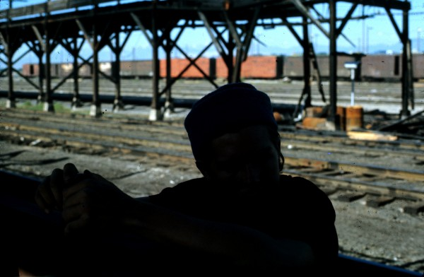 Pat Ament, Salt Lake City freight yards, circa 1972, photo by Shiela S...