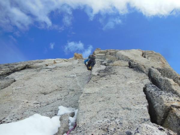 Climbing tower 4 on the southwest ridge of Frances