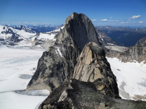 Bugaboo Spire as seen from the top of Snowpatch