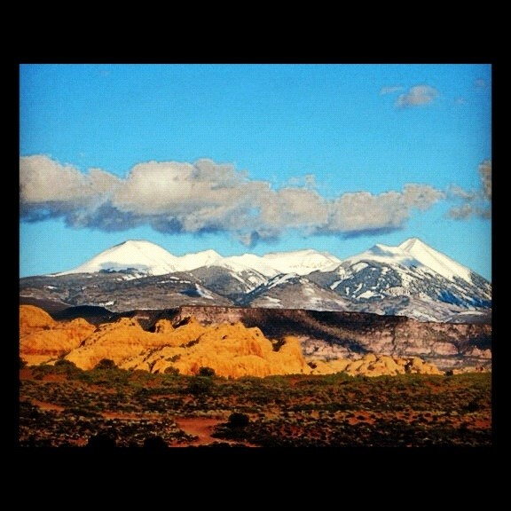 Clouds over La Sal Mtns