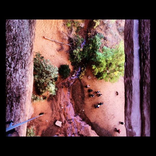 Rappelling into Grandstaff Canyon.