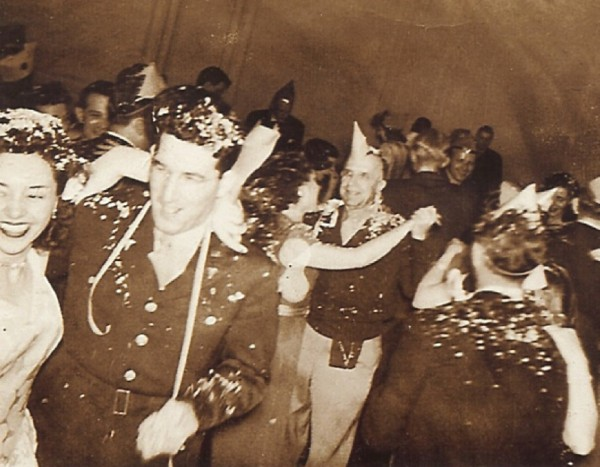 My parents (left side) celebrating New Years 1944 Fort Sam Houston