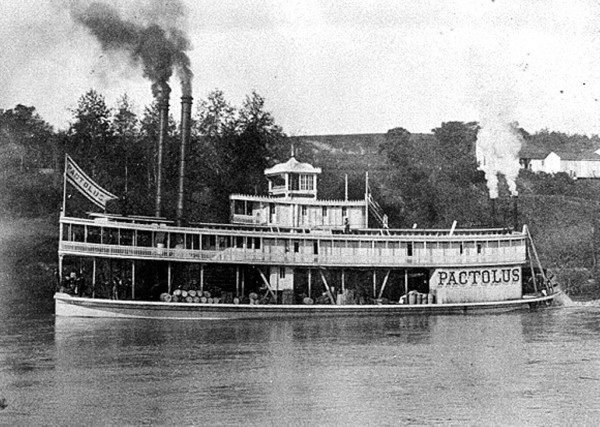 Steamboat Pactolus 1884.  Steamboats came up the Chattahoochee River t...