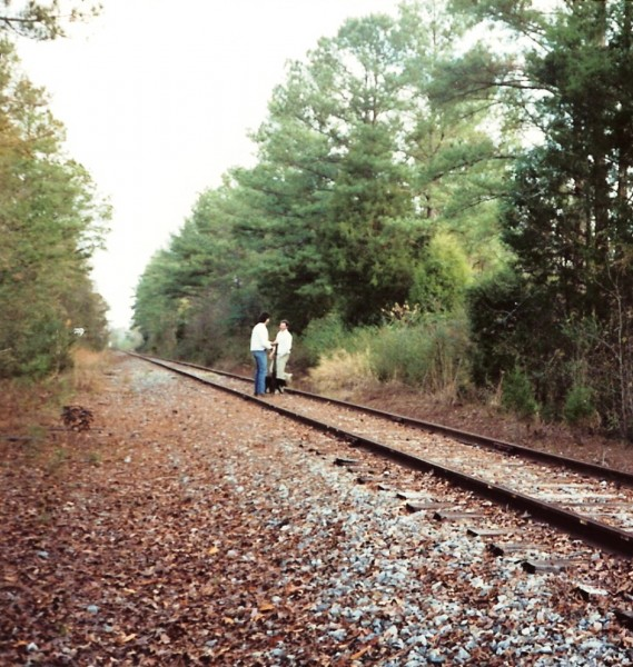 My last walk on the tracks before they pulled them up in 1992.  My dog...