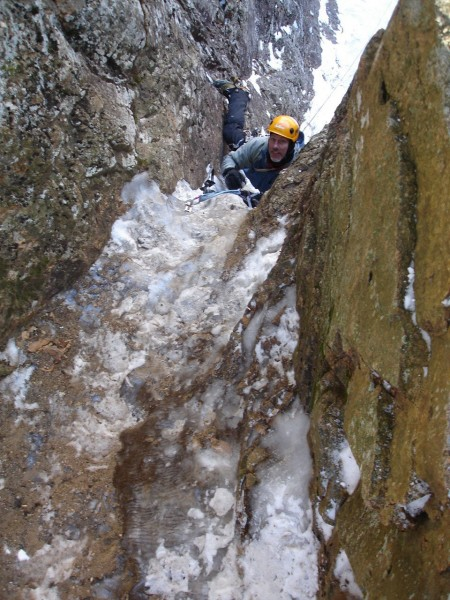 Hobbit Couloir, 4+/5, Frankenstein Cliffs, Crawford Notch, NH, 2008