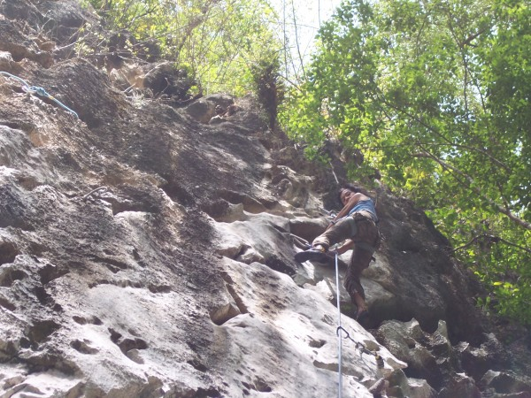 "Elna at the top of Haight 5.8 a good warm up route. Haight means ""shar..."