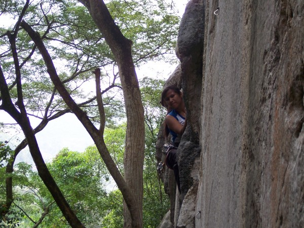 Jheryl on Oh Baby! 5.10d one of the classics of the crag. The wall ove...