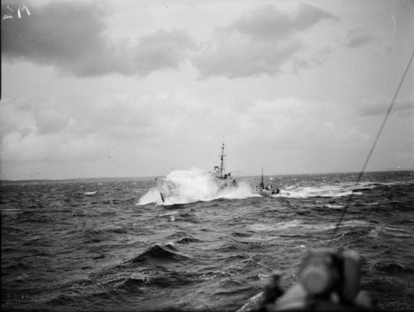 Royal Navy Destroyer Escort in heavy seas