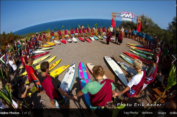 Blessing ceremony for the Peahi paddle-in surfing competition.