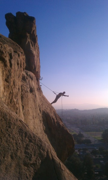 A friend of a new climbing friend, Alex, taking the scenic route down ...