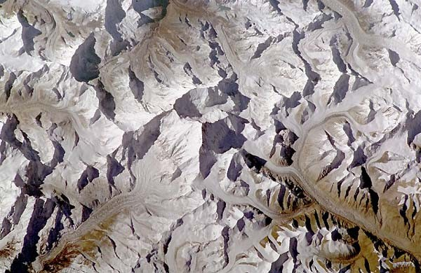 From directly overhead.  Nepal on the top, Tibet on the bottom