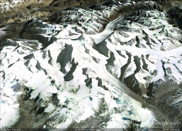 Saser Kangri Region from Google Earth. View approx from SW