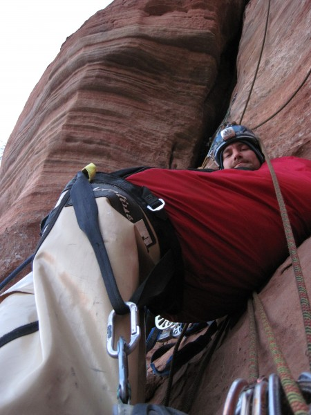 one pitch short of the bivy ledge, Eye Shadow, Feb 2012
