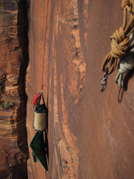 Lowering out the bag from pitch 6 anchor