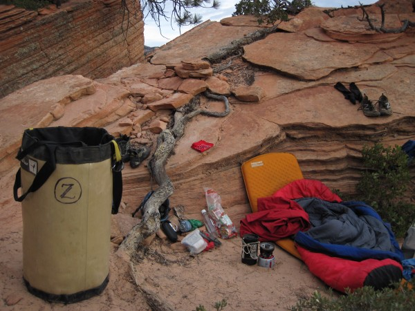 plush, flat bivy at the top