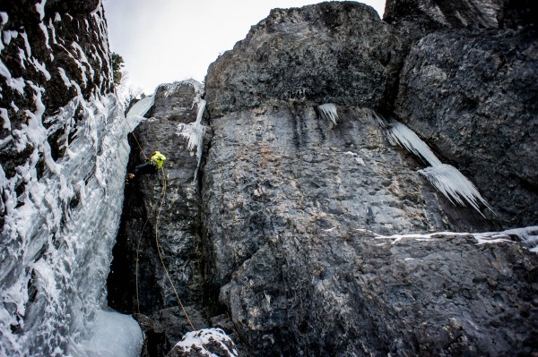 Rapping a really fun route up on camp bird road.  There were fixed dra...