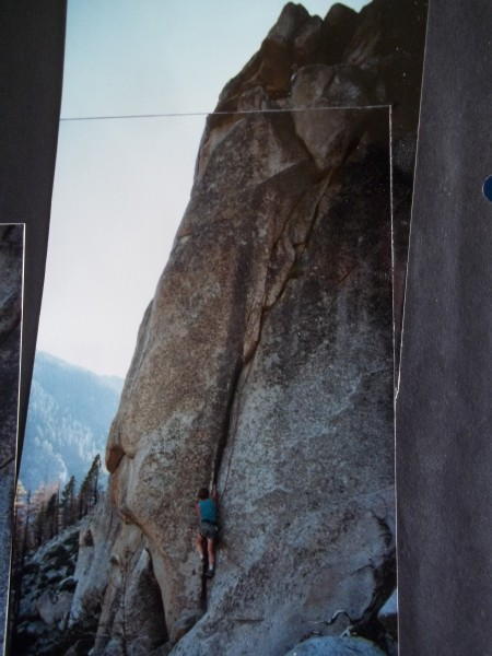 Chuck Jobst following - Steve barely visible at belay behind top bould...