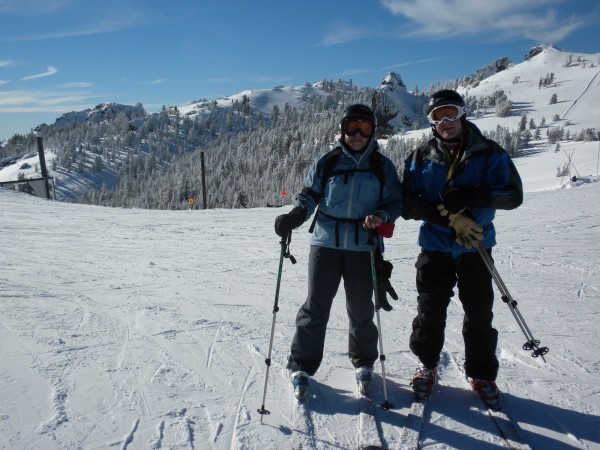 Susan and Michael getting ready to drop in at Cornice....fantastic sno...