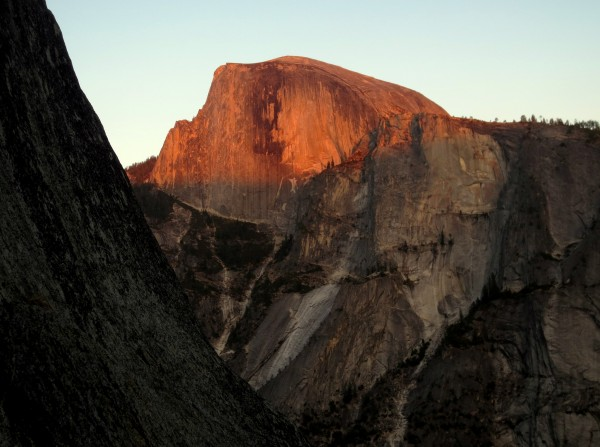 Half Dome at sunset from the top of pitch 11