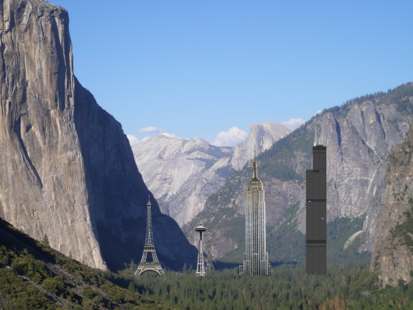 El Cap scale comparison with well known vertical icons. Measurements a...