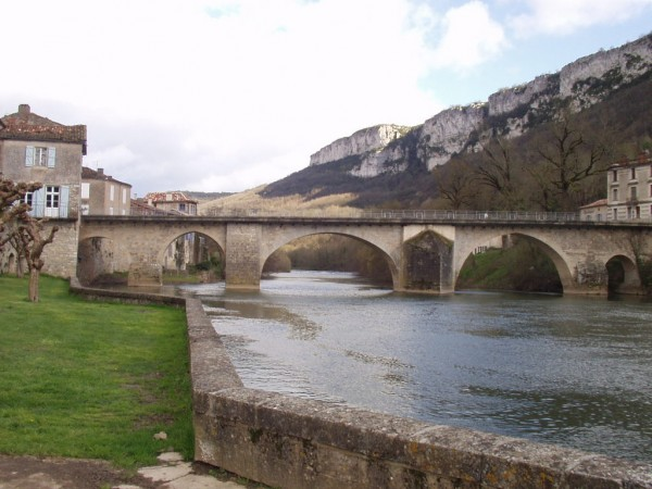 Saint Antonin Noble-Val, France.  You can see the amazing crag of Angl...