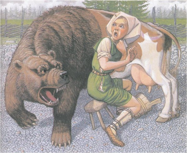Ilmarinens wife and cow changed into a bear