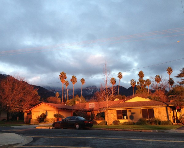 Only in SoCal: Snowy mountains, palm trees, alpenglow on mid-century m...