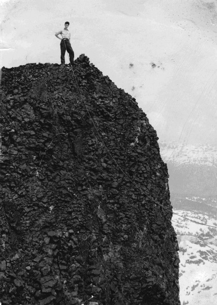 Arnold Shives on the outer peak of the Black Tusk, 1961. Photo by Fran...