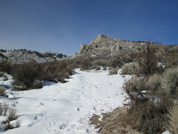 Approach to Carson Valley Sentinel, from Jacks Valley Road.  9 Jan 201...