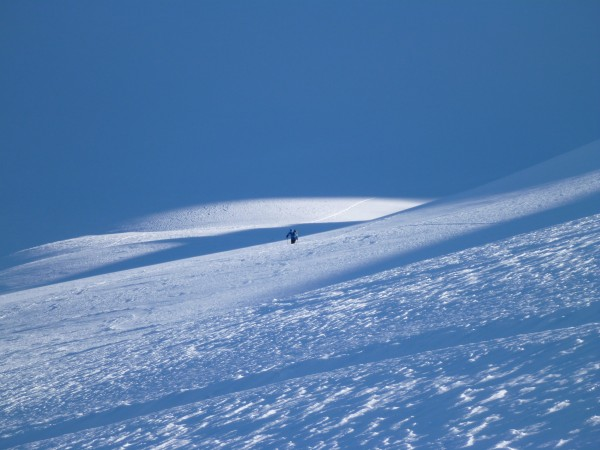 Earning our turns in the Selkirks last week.