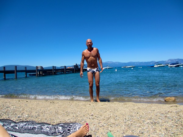 Creepy Old Guy� emerging from ice-cold Lake Tahoe in June.