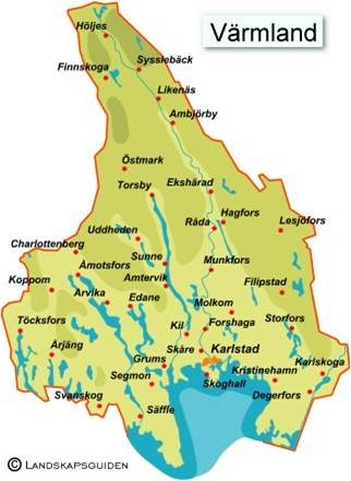 Värmland in Sweden with Finnskoga and Östmark in the north.