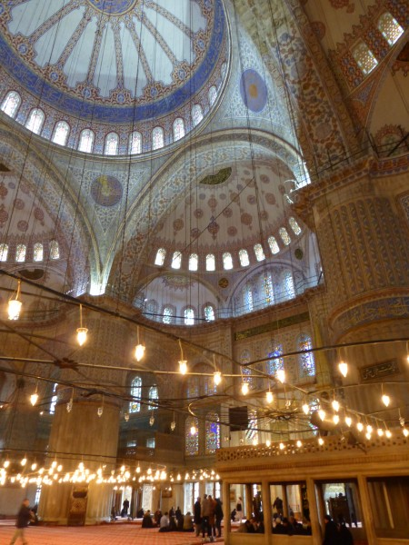 Inside the Blue Mosque...no paintings, only spectacular calligraphy an...