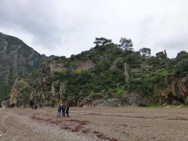 The ancient city of Olympos from the beach. Note the ramparts construc...