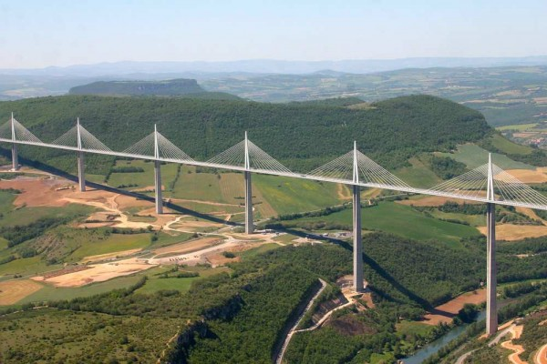 Millau Viaduct in France - pylon 2 (the one next to the river)is talle...