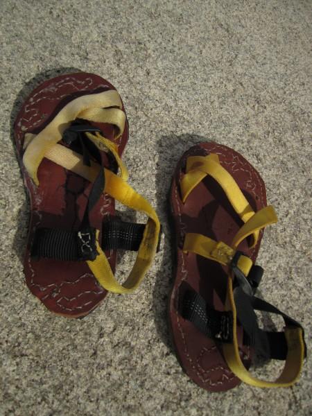 my new sandles, made in hidden valley campground.