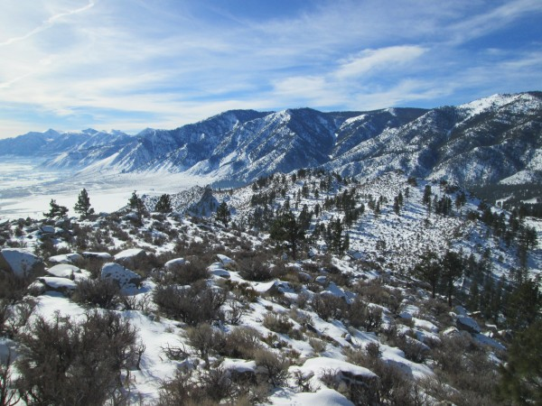 Looking south along the Carson Range toward Woodfords 15 jan 2013