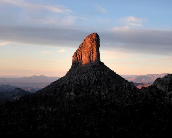 Beautiful Weaver's Needle on the way out...