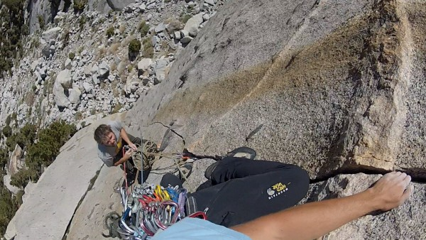 Starting the 2nd pitch of Bony Fingers in the Whitney Portal