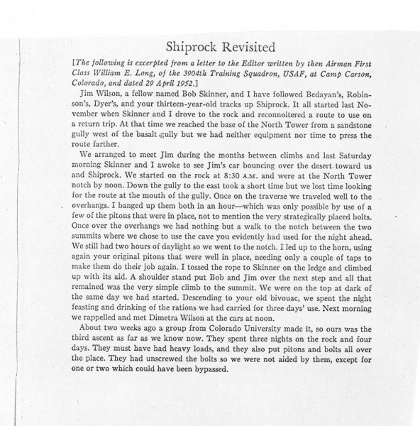 Letter from Bill Long about third ascent of Shiprock