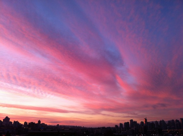 Sunset today over Vancouver
