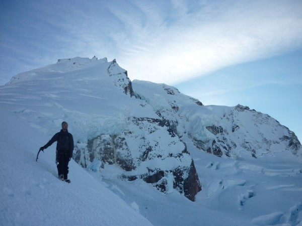 Descending down the warren glacier.  Perfect firm wind blasted snow.  ...