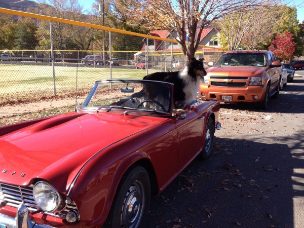 Living the good life in a red convertible .   Moab, Utah.  Nov. 2012