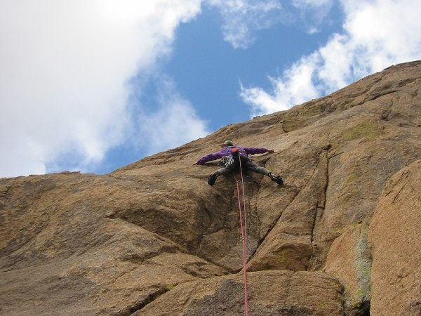 Loz on the crux, pitch one.