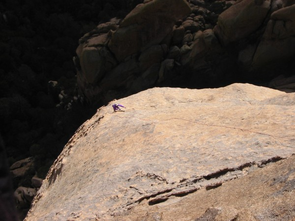 Looking down the long, runout 5.6 slab.