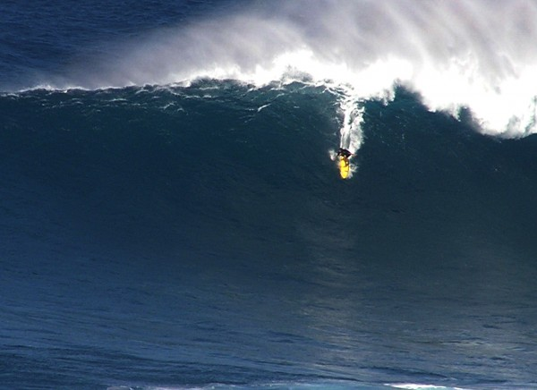 Kai Lenny late in the day @ Jaws 12/31/12 <br/> Photo: Olaf Mitchell